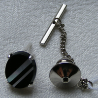 Tie Pin or Tack in sterling silver featuring Onyx and Mother of Pearl