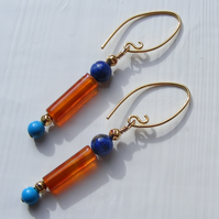 Silver Vermeil Earrings with Carnelian, Lapis & Turquoise gems Inspired by Egypt