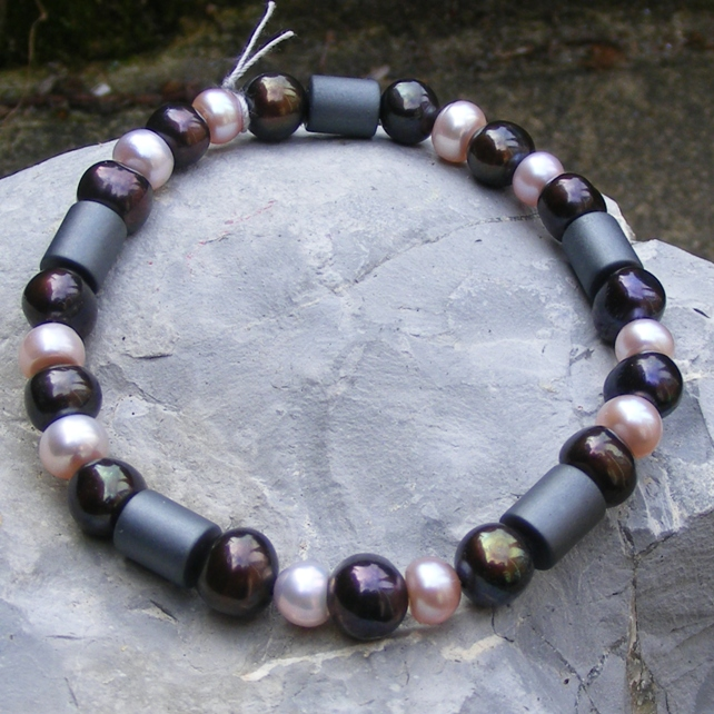 Bracelet with Haematite and Mocha and Pink Cultured Freshwater Pearls