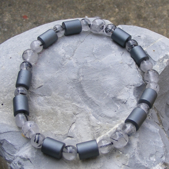 Stretch Bracelet with Haematite and Rutilated Quartz