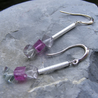 Drop Earrings in Sterling Silver with Rainbow Fluorite Cube Shaped Gems