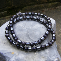 Stretch Bracelet in Sterling Silver With Haematite & Mother Of Pearl Beads
