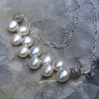 Necklace in Sterling Silver with White Button Shaped Cultured Fresh Water Pearls
