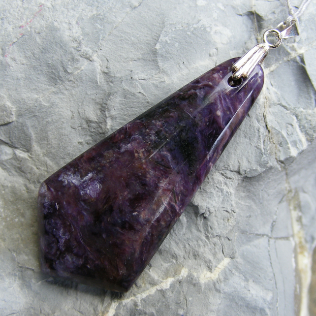 Pendant in Sterling Silver with Chatoyant Charoite Gemstone