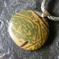 Pendant in Sterling Silver Vermeil Featuring Picasso Jasper On A Woven Cord