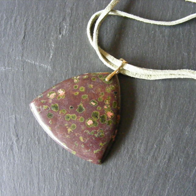 Pendant in Sterling Silver Vermeil Featuring Plume Jasper On A Faux Suede Cord