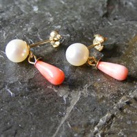 Earrings in 9ct Yellow Gold with Vintage Natural Coral & Cultured Pearls
