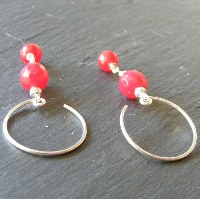 Hoop Style Earrings in Sterling Silver with Faceted Dyed Red Jade Gems