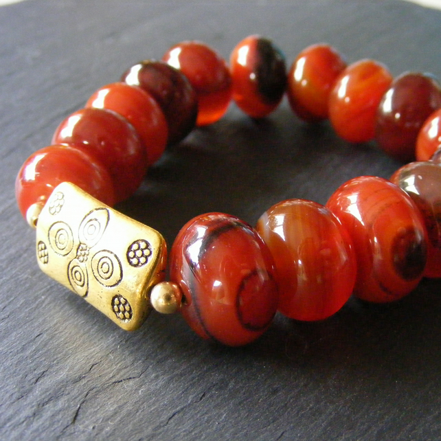 Bracelet in Vermeil with Chunky Dream Agate Gemstone Beads