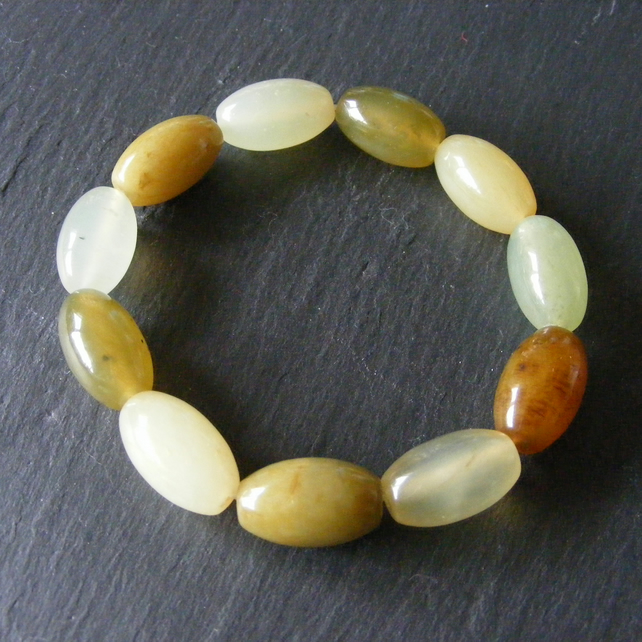 Stretch Bracelet featuring Chunky Natural Jade Gemstones