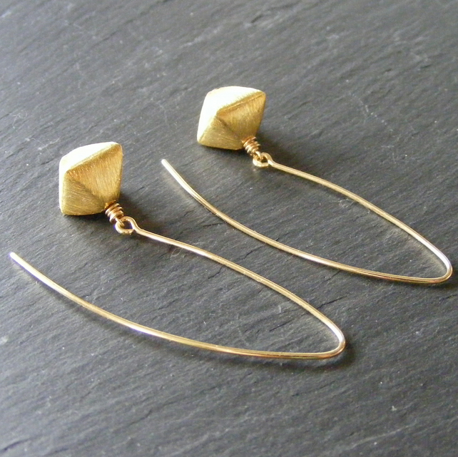 Drop Earrings in Sterling Silver Vermeil With Double Pyramid Design