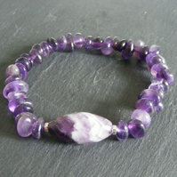 Stretch Bracelet in Sterling Silver with Amethyst Gemstone Beads