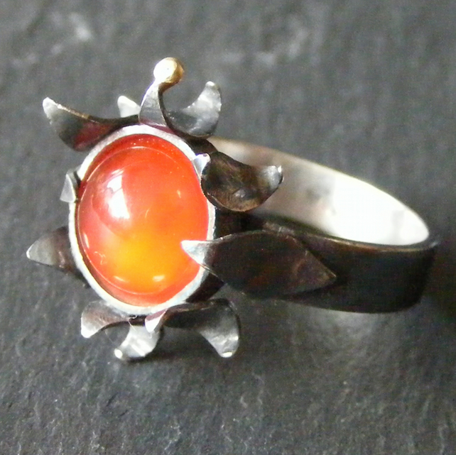 Sterling Silver Hand Forged Ring With Carnelian Oxidised, 18K Yellow Gold Accent