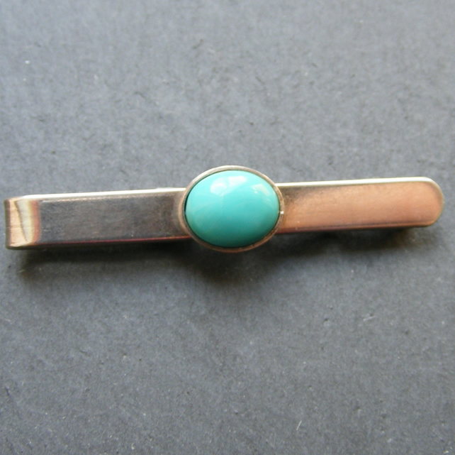 Tie Slide in Sterling Silver with Turquoise Fully Hall Marked
