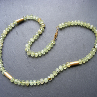 Necklace in Sterling Silver Vermeil with Faceted Green Garnet Gemstones