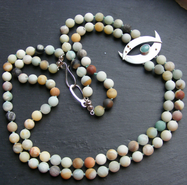 Necklace in Matte Amazonite Gems in Sterling Silver & 18ct Gold Hallmarked