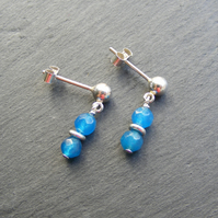 Drop Earrings in Sterling Silver with Blue Agate Gemstones