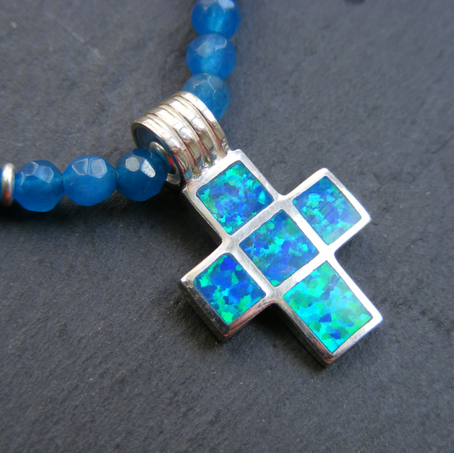 Necklace in Sterling Silver with Faceted Blue Agate & Gilson Opal Cross Pendant