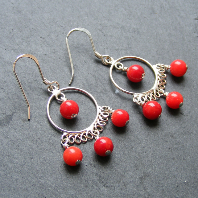 Chandelier Style Sterling Silver Earrings with Red Coral Gemstone Beads