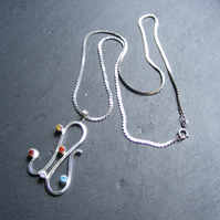 Sterling Silver Modernist Style Pendant with Colourful CZ Gemstones Hand Forged