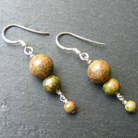Drop Earrings in Sterling Silver with Pretty Unakite Gemstones