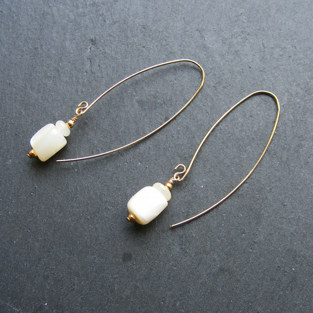 Drop Earrings in Rolled Gold with Mother of Pearl & Welo Opal Gemstones
