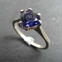 Ring in Sterling Silver With Iolite  Heart Cut Gemstone UK Size O & Half