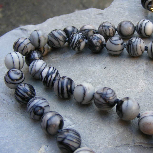 Necklace Sterling Silver Vermeil with Zebra Jasper - 70cm long & Magnetic Clasp