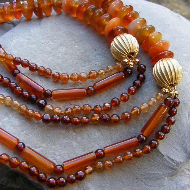 Necklace in Sterling Silver Vermeil with Carnelian & Hessonite Garnets