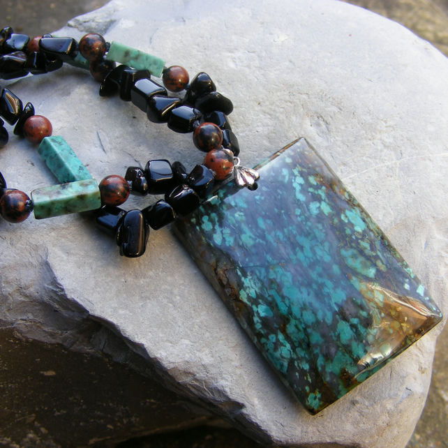 Necklace in Sterling Silver with Gorgeous Agate, Turquoise, Onyx & Obsidian gems