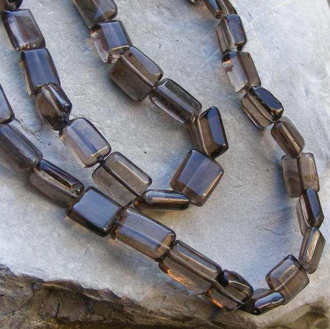 Necklace in Natural Smoky Quartz Hand Cut Gemstones - No Metal Components