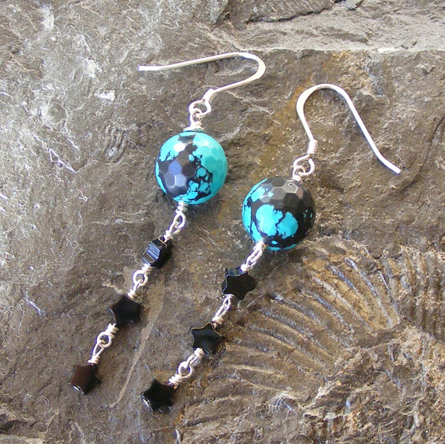 Earrings in Sterling Silver with Faceted Spider Web Turquoise & Black Onyx