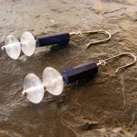 Sterling Silver long drop Earrings - Natural Lapis Lazuli & Rock Crystal Quartz