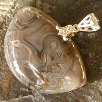 Pendant in Sterling Silver with Pretty Mexican Crazy Lace Agate Gemstone