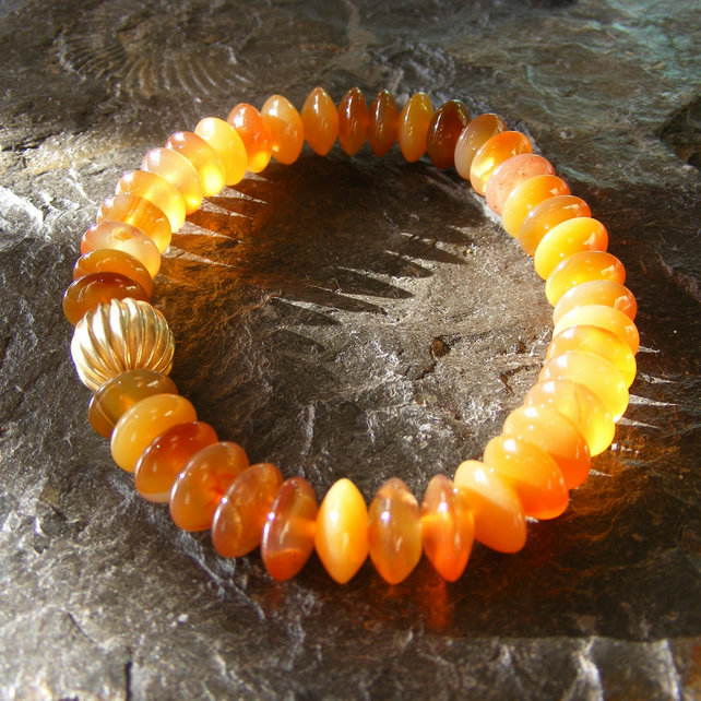 Stretch Bracelet in Sterling Silver Vermeil with Carnelian Gemstone Button Beads