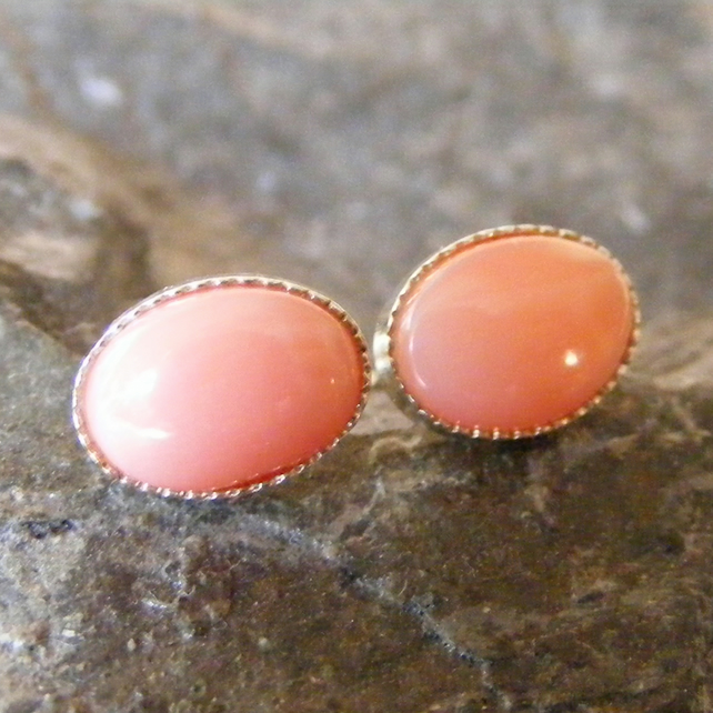 Stud Earrings in Sterling Silver with Feminine Natural Un-dyed Coral Gems