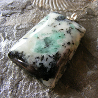 Pendant in Sterling Silver featuring Natural Emerald in Mother Rock