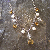 Necklace in Sterling Silver with Citrine, Pearl & Crystal gems - Bridal