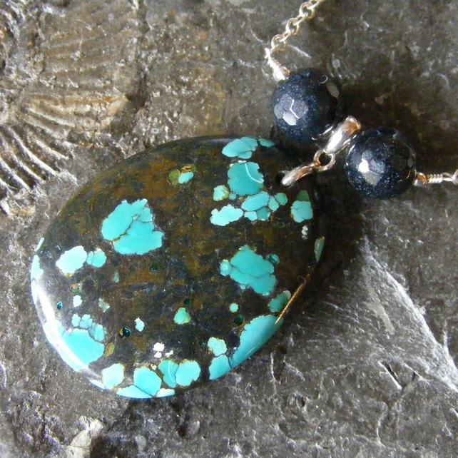 Sterling Silver Necklace with Beautiful Spiderweb Turquoise and Black Onyx