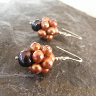Sterling Silver Charm Style Earrings with Brown and Bronze Fresh Water Pearls