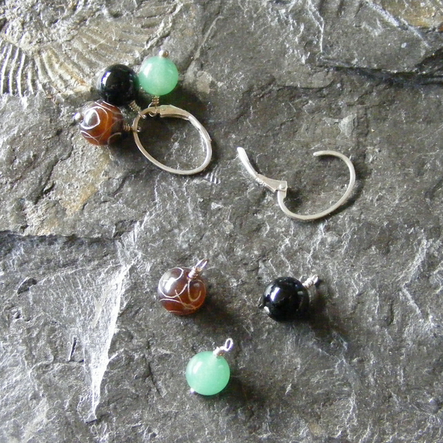 Earrings in Sterling Silver With Interchangeable Gemstone Charms