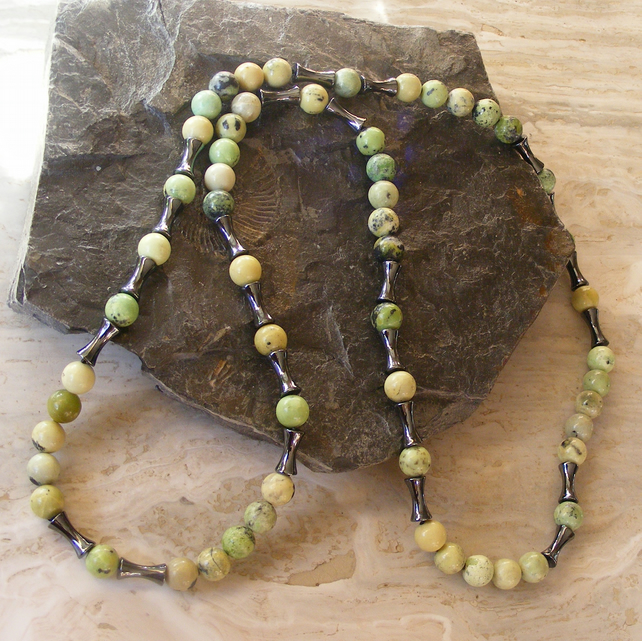 Long Necklace featuring Haematite and Chrysoprase Gemstones