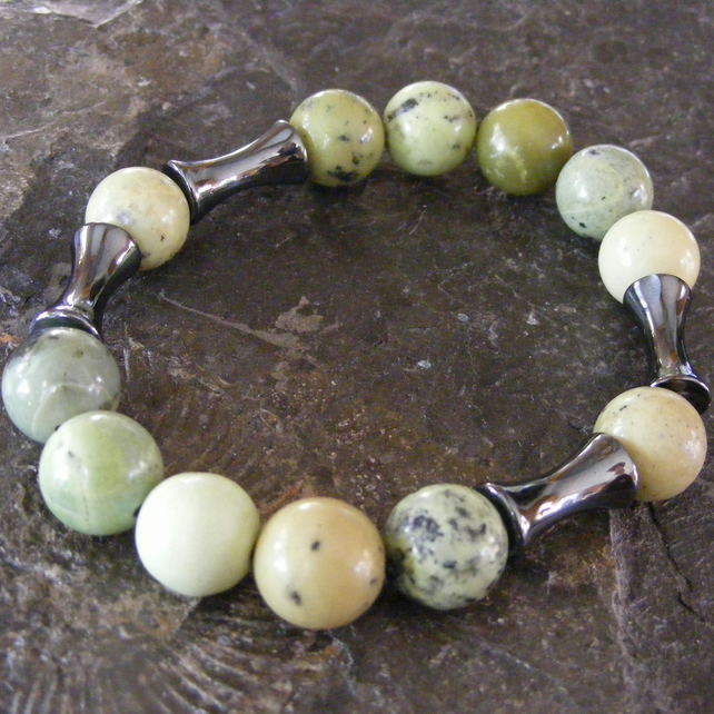Stretch Bracelet with Chrysoprase and Haematite Gemstone Beads