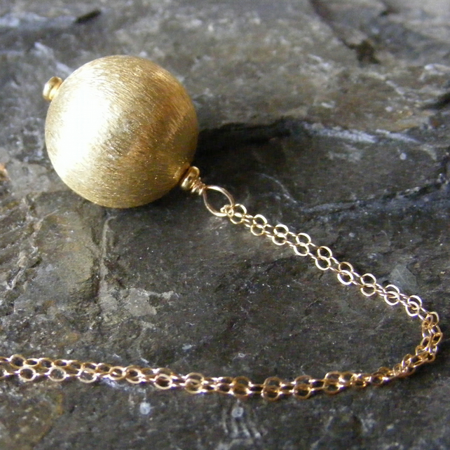 Gold Vermeil Ball Bombe Pendant and Gold Filled 24 Inch Fine Chain