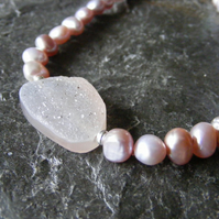 Necklace in Sterling Silver with Pink Cultured Fresh Water Pearls & Druzy Agate