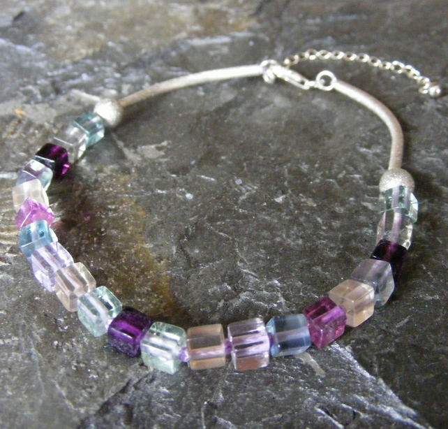 Bracelet or Anklet in Sterling Silver with Rainbow Fluorite Gemstone Cubes
