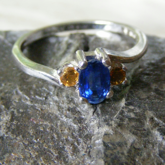 Ring in Sterling Silver with Nepalese Kyanite & Citrine Gemstones