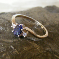 Ring in Sterling Silver with Iolite Water Sapphire & CZ Gemstones