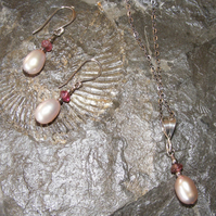 Sterling Silver Pendant & Earring Gift Set - Pink Fresh Water Pearls, Tourmaline