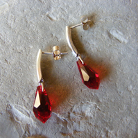 Drop Earrings in Sterling Silver with Red Swarovski® Drop Elements